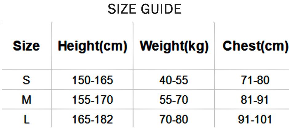 posture aid brace size chart